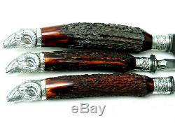 Magnificent Antique Victorian Sterling Silver Staghorn Carbon Steel Carving Set