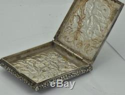 Museum antique Victorian sterling silver Repousse snuff box/pill box