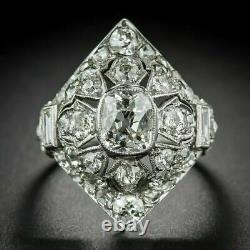 Navette Shaped Plaque Victorian Edwardian Ring 925 Sterling Silver 1.4ct Diamond