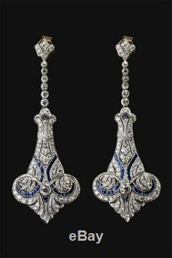 New Screw Back Solid Vintage Victorian Style Dangle Earrings 925 Sterling Silver