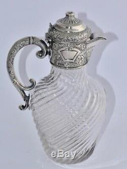 Ornate 1897 English Sterling Silver Mounted Claret Jug Repousse