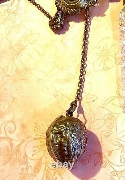Ornate Victorian Sterling Chatelaine Buttonhook, Sterling Walnut, Perfume Flask
