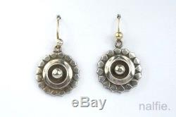 PRETTY ANTIQUE VICTORIAN PERIOD ENGLISH STERLING SILVER EARRINGS c1880