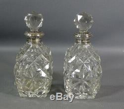Pair Antique Victorian Cut Glass Crystal Perfume Bottle Sterling Silver Neck Box