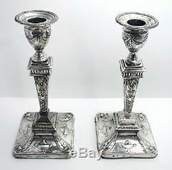 Pair Beautiful ANTIQUE Victorian Adam Style English Sterling Silver Candlesticks