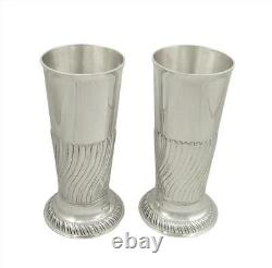 Pair Of Antique Victorian Sterling Silver 7 1/2 Vases 1886