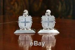 Pair of Antique Victorian Sterling Silver Armorial Crested Menu Holders England