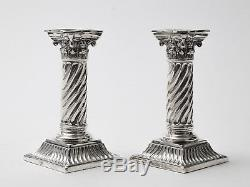Pair of Antique Victorian Sterling Silver Corinthian Column Candlesticks