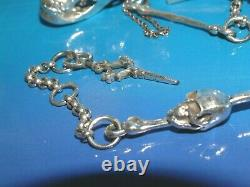 Quality Solid Sterling Silver Albert Opening Skull Skeleton Hand Watch Chain
