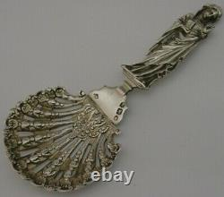 RARE CAST VIRGIN MARY STERLING SILVER SUGAR SIFTER or MOTE SPOON 1894 ENGLISH