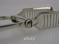 RARE STERLING SILVER MOORS NEGRO HEAD CRESTED SERVING TONGS ANTIQUE 1894 128g