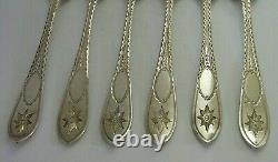RARE STERLING SILVER SET OF 6 IRISH CELTIC POINT PATTERN FORKS 248g VICTORIAN