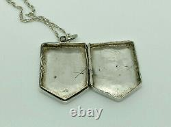 Rare Antique Victorian 1887 Sterling Silver Penny Farthing Shield Locket Pendant