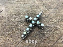 Rare Antique Victorian Sterling Coral, Opal Cross Double Sided Pendant