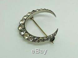 Rare Antique Victorian Sterling Silver Diamond PASTE Large Crescent Moon Brooch