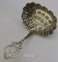 Rare English Victorian Solid Sterling Silver Caddy Spoon 1899 Antique Ferns