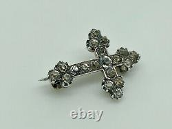 Rare Gorgeous Antique Victorian Sterling Silver Diamond PASTE Cross Brooch
