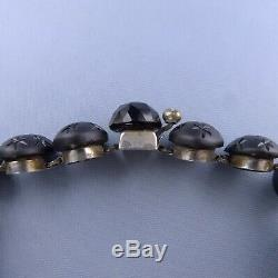 Rare Victorian Sterling Silver Mourning Bracelet / French Jet Antique