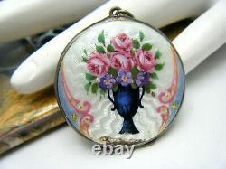 Repair Double Side 935 Sterling Victorian Hand Painted Guilloche Enamel Locket