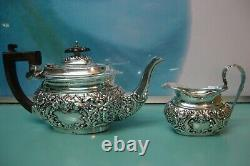 Repousse raised relief Sterling silver CHESTER Tea pot & Milk jug Ridley Hayes