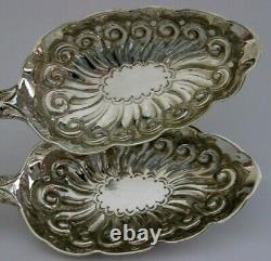 SUPERB VICTORIAN ENGLISH SOLID STERLING SILVER SERVING SPOONS 1851 ANTIQUE 124g