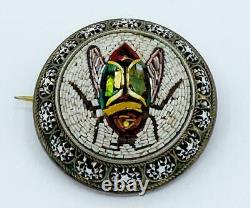 Spectacular Antique Victorian Micro Mosaic Sterling Silver Fly Pin