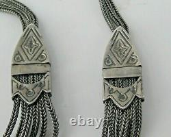 Sterling Silver Turquoise Albertina Tassel Necklace Antique Victorian Style 32