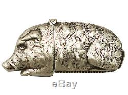 Sterling Silver'Wild Boar' Vesta Case Antique Victorian