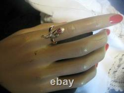 Sterling silver Gold over Rosecut diamond Ruby Antique Victorian Snake Ring