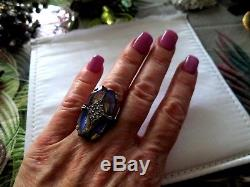 Stunning antique Victorian high quality sterling silver Saphiret dress ring