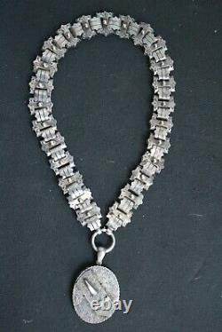 Superb Victorian Sterling Silver 17 Book Chain Collar Necklace & Buckle Pendant