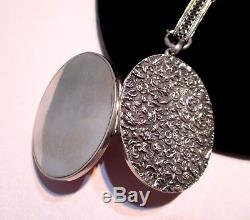 VICTORIAN Antique Sterling MICRO-FLORAL OVAL LOCKET Pierced BOOK CHAIN NECKLACE