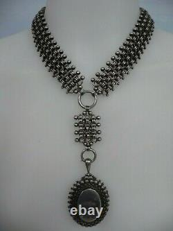 VICTORIAN ENGLISH STERLING ORNATE LOCKET withHEAVY MATCHING CHAIN
