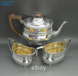 VICTORIAN GOOD SOLID STERLING SILVER 3PS BACHLEORS TEA SERVICE 603g LONDON 1895