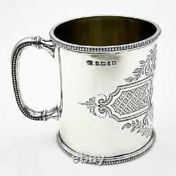 VICTORIAN STERLING SILVER Engraved 1/3 PINT CHRISTENING MUG / CUP Sheffield 1876