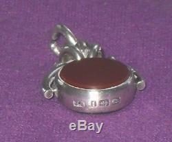Victorian 1883 Solid Sterling Silver Wax Seal Spinner Albert Chain Fob Antique