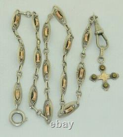 Victorian 800 Silver Watch Chain with Sterling Cross