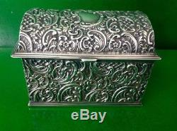Victorian Antique English Sterling Silver Jewellery Jewelry Casket Box Chest