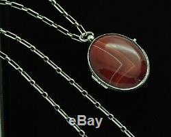 Victorian Antique Oval Banded Agate Sterling Silver Locket Pendant & Necklace