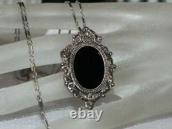 Victorian Antique Sterling Silver Black Onyx Marcasite Pin Pendant Necklace