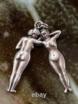 Victorian Antique Sterling Silver Double Sided Naked Lady Risqué
