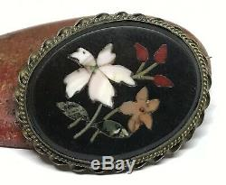 Victorian Antique Sterling Silver Mosiac Pietra Dura Large Oval Pin Brooch