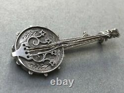 Victorian Brooch Banjo Musical Instrument Sterling Silver Rare Antique Jewellery
