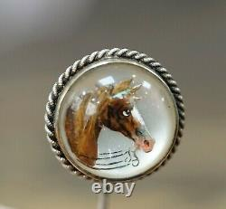 Victorian Noblesse Stallion Horse Head Essex Crystal Stick Pin Sterling Silver