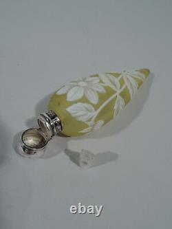 Victorian Perfume Antique Vial English Sterling Silver & Cameo Art Glass