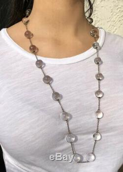 Victorian Pools of Light Rock Crystal Orbs Sterling Silver 13.5mm Necklace 33