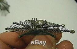 Victorian Set 6 Sterling Silver Spiders 2 Fine Web Place Card Holders Halloween