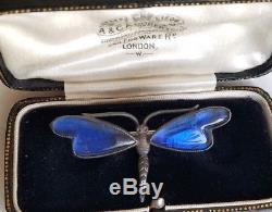 Victorian Sterling Dragonfly Butterfly Wing Brooch, Antique