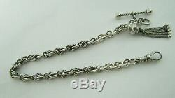 Victorian Sterling Silver Albertina Pocket Watch Chain with Tassels 20 Grammes
