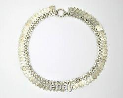 Victorian Sterling Silver Book Chain Collar Necklace